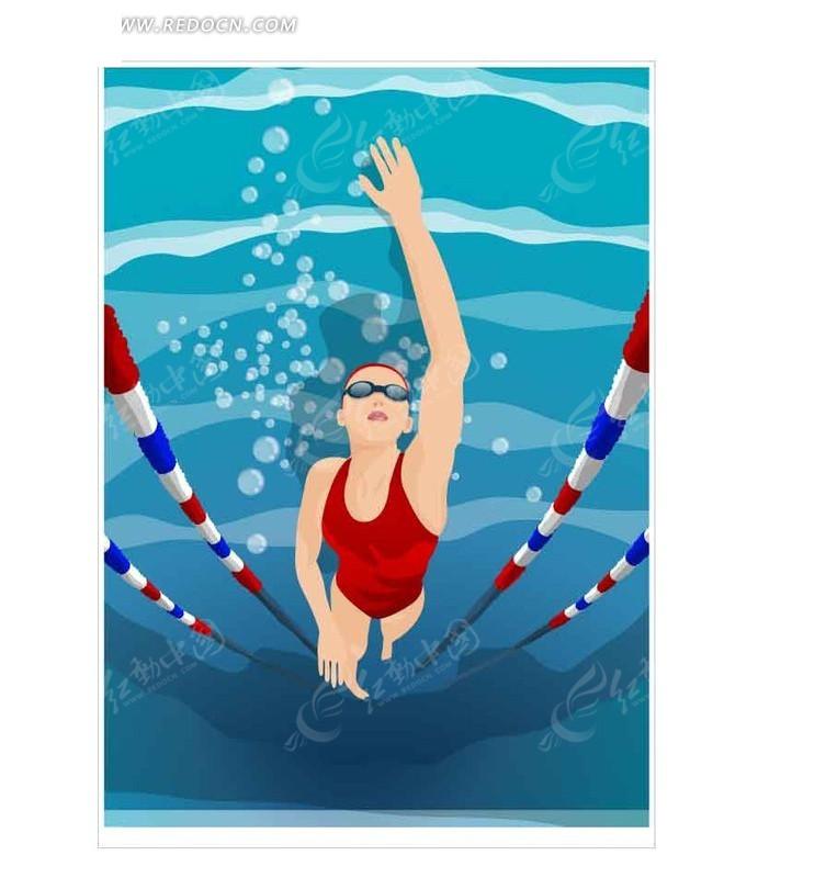 正在游泳的卡通人物
