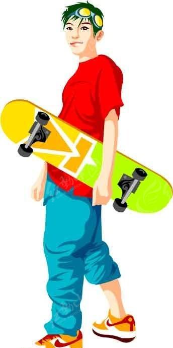 拿着滑板的卡通人物
