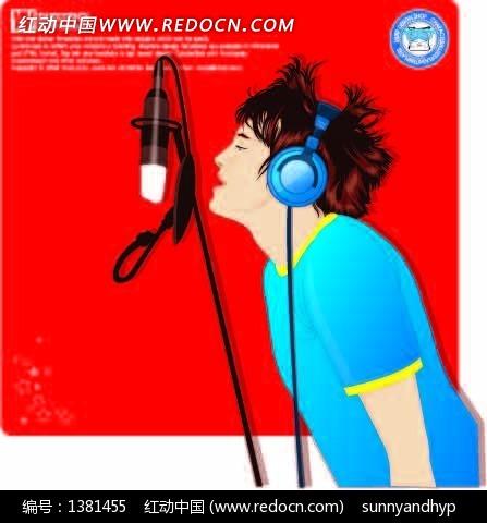 带着耳机正在唱歌的卡通形象