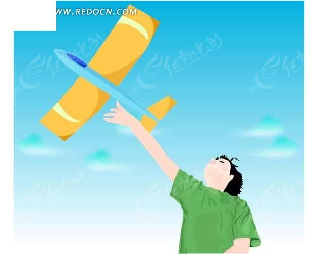 拿着飞机模型的卡通小孩