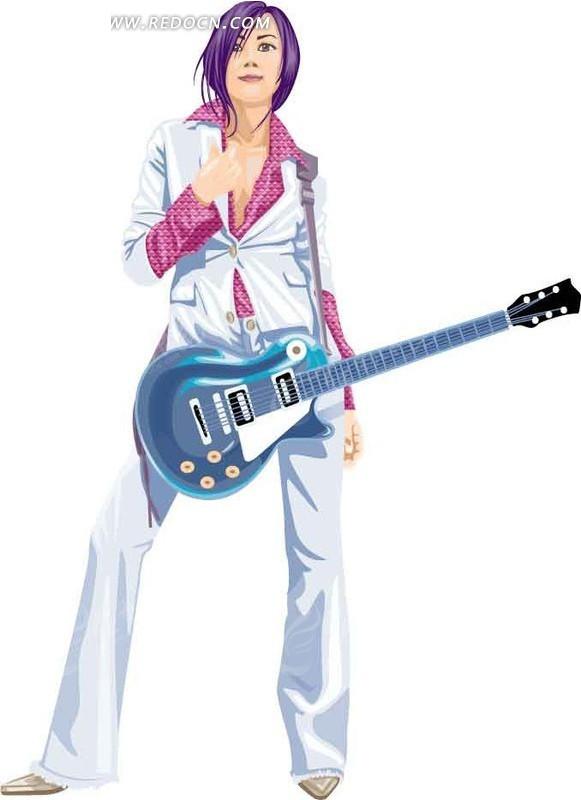 背着吉他的卡通人物