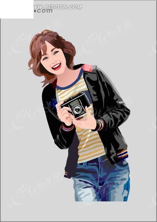 相机 插画 卡通人物 卡通人物图片