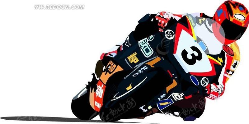 正在摩托车的卡通人物ai素材免费下载_红动网