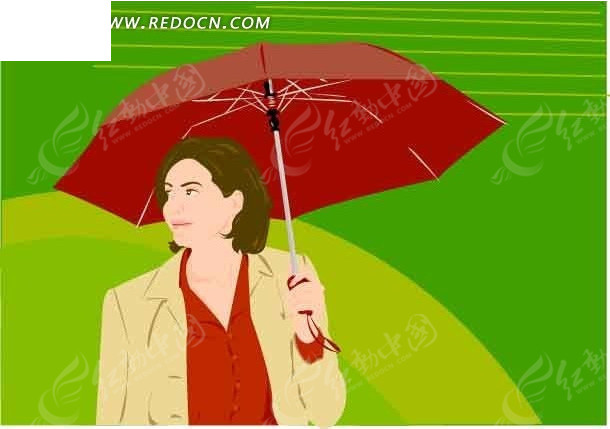 撑着伞的卡通人物