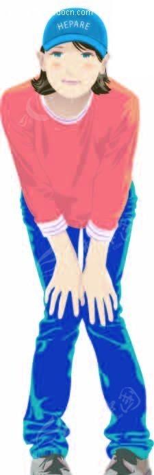 手放膝盖半蹲的卡通人物图片