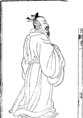 中国古代人物插画-老人的背影图片