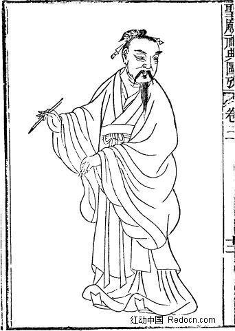 圣庙祀典图考-手拿毛笔的古代人物矢量图