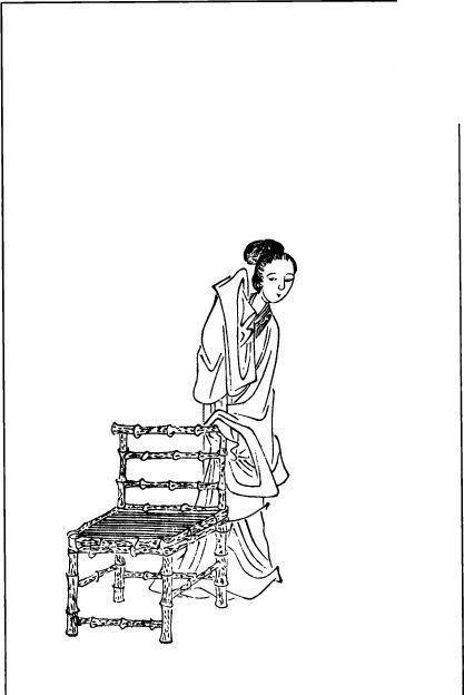 扶着木椅的古代女人