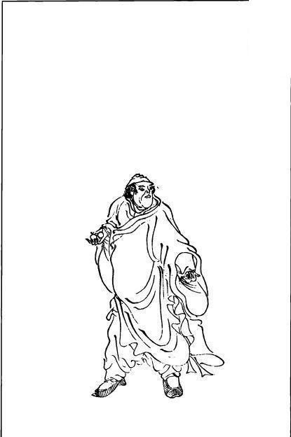 古代线描人物—穿长袍的男人图片