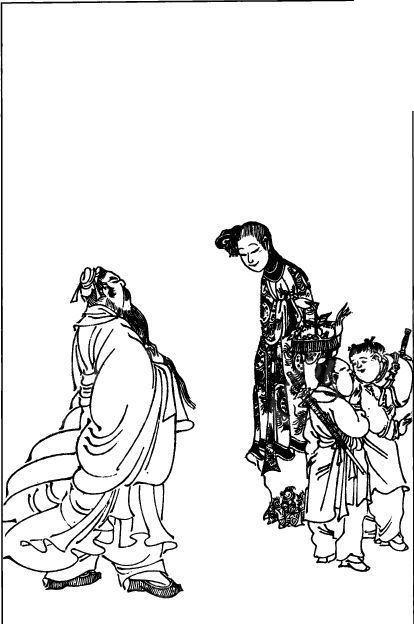 中国古代人物插画-女子童子和男子的背影