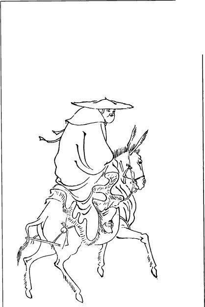 中国古代人物插画-骑驴的戴着斗笠的人物的背影