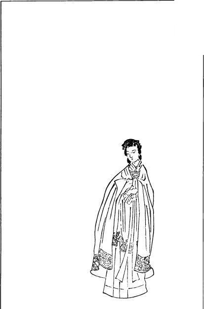 中国古代人物插画-披着披风的女子