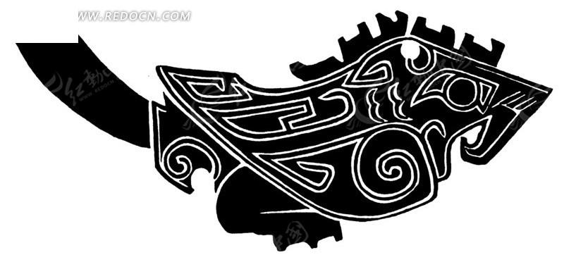 中国古典图案-回纹装饰的拙朴的鸟