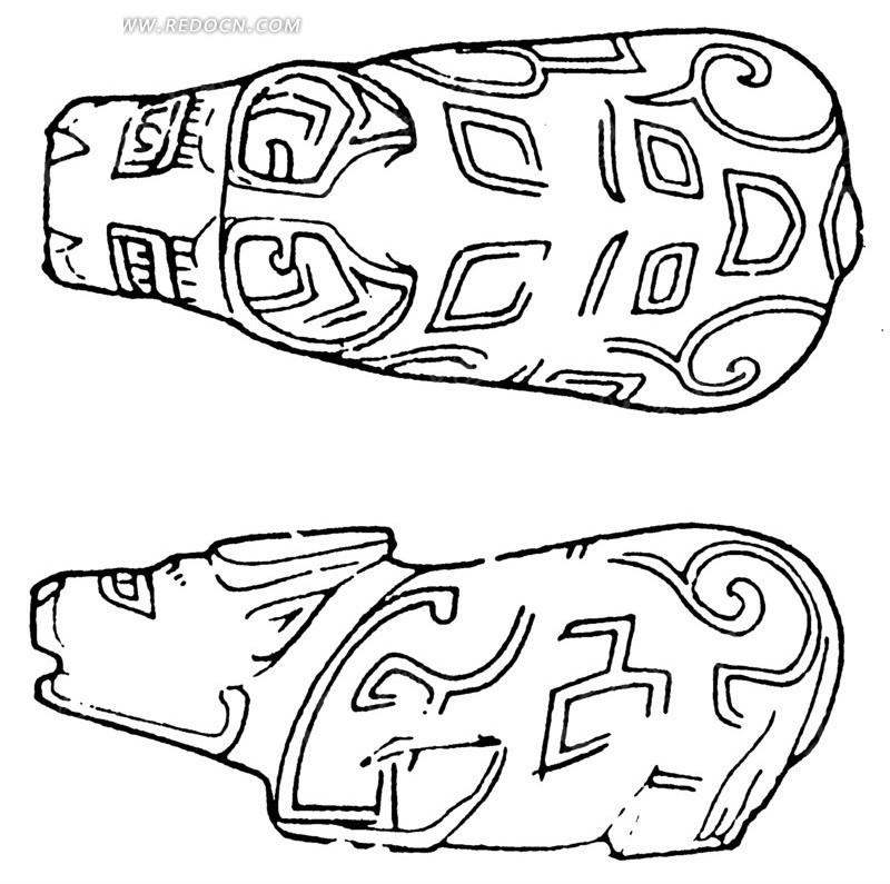 中国古代雕刻-线条装饰的动物的侧面和俯视