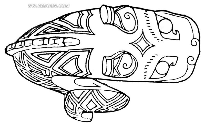 中国古典图案-几何形装饰的动物的俯视