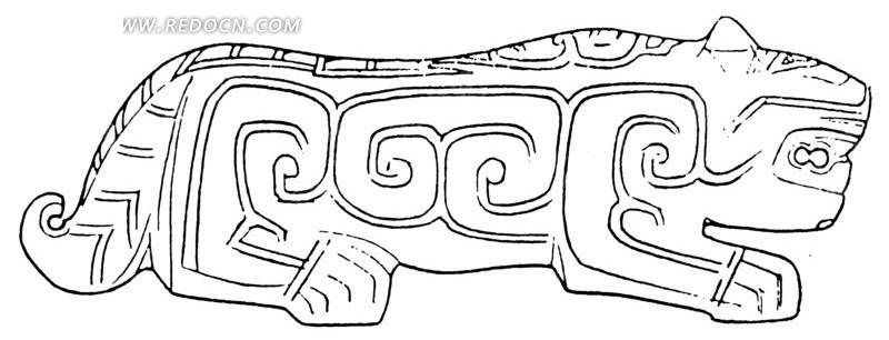 中国古代器物-趴着的卷曲纹装饰的动物
