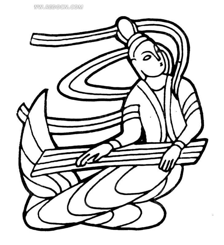 手绘弹奏古筝的乐神