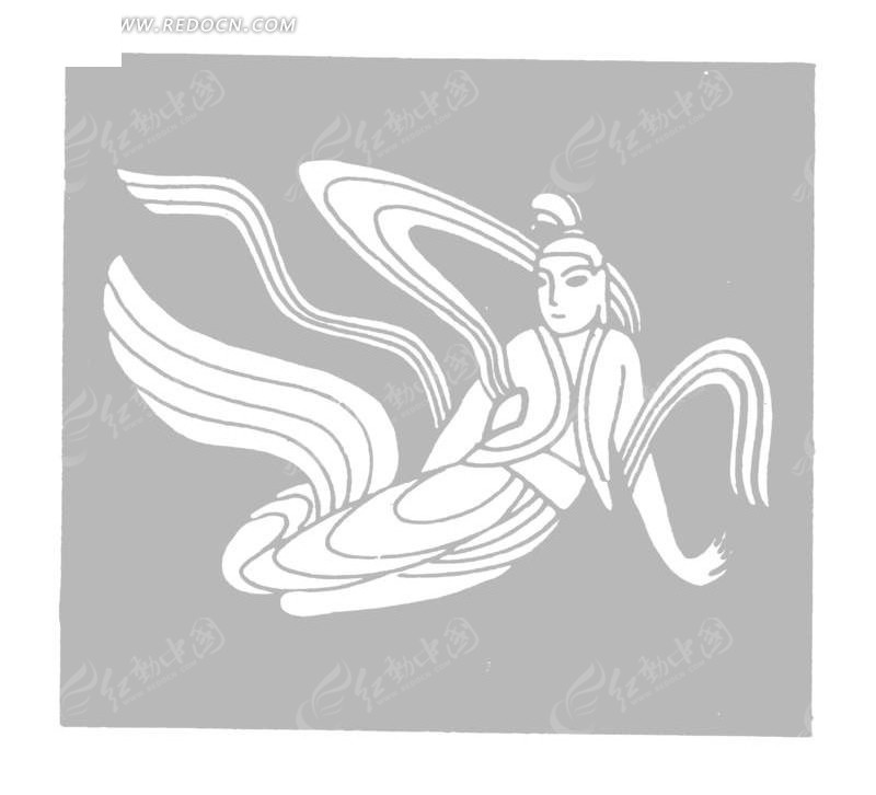 手托地嫦娥仙子矢量图 传统图案