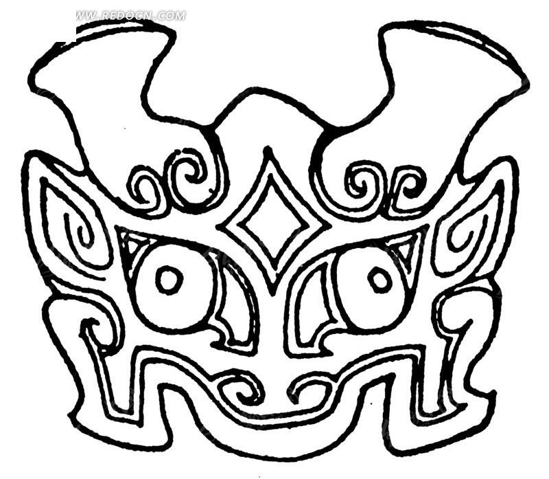 中国古典图案-卷曲纹装饰的兽头
