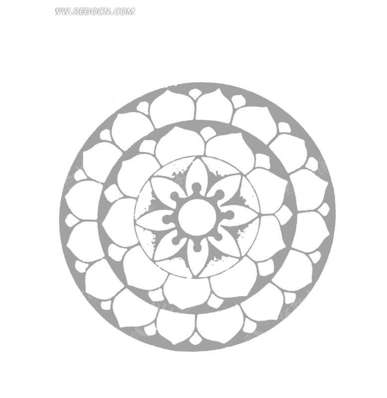 中国古典图案-花朵和花瓣构成的圆形图案
