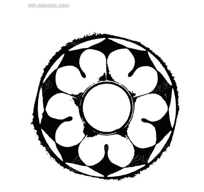 中国古典图案-花朵形构成的圆形图案