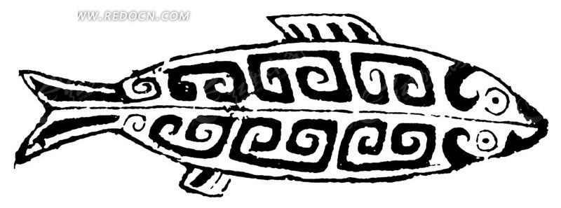 中国古典图案-窃曲纹构成的鱼