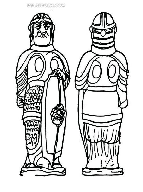 中国古代雕刻-拿着盾牌穿盔甲的男子的正面和背面