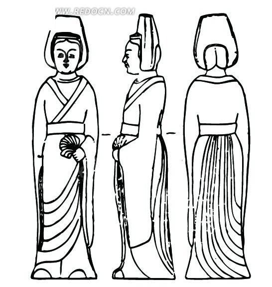 女子 左手拿着某物 正面 侧面 背面 中国风 中国古典 艺术 装饰 黑白