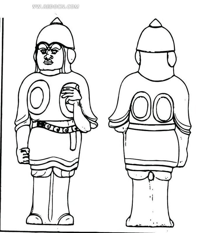 中国古代雕刻-穿盔甲的男子的正面和背面