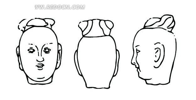 中国古代雕刻-光头的男子头像的正面侧面背面