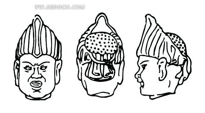 手绘古代人物头像线条图形ai免费下载_传统图案素材