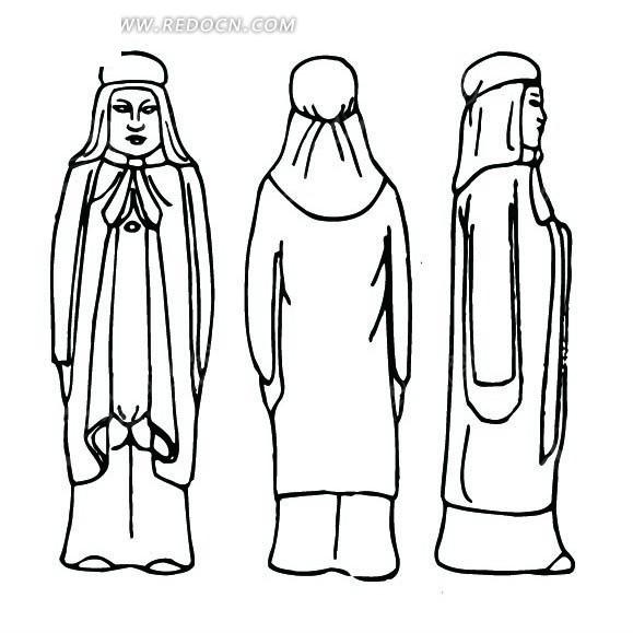 中国古代雕刻-披着披风的人物的正面侧面背面