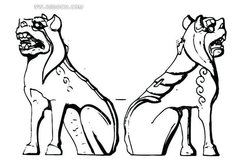 中国古代雕刻-蹲着的动物的侧面