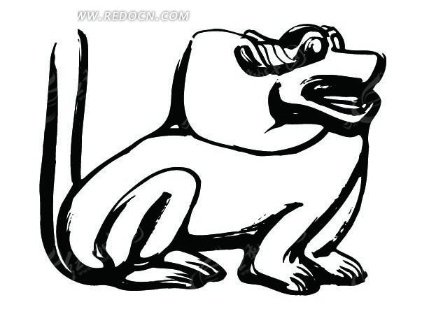 动物手绘黑白线稿