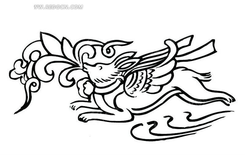 中国古典图案 动物和卷曲的叶子构成的图案AI素材免费下载 编号图片