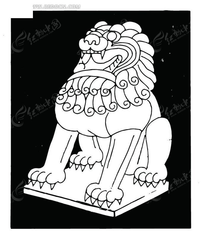 石狮风景简笔画