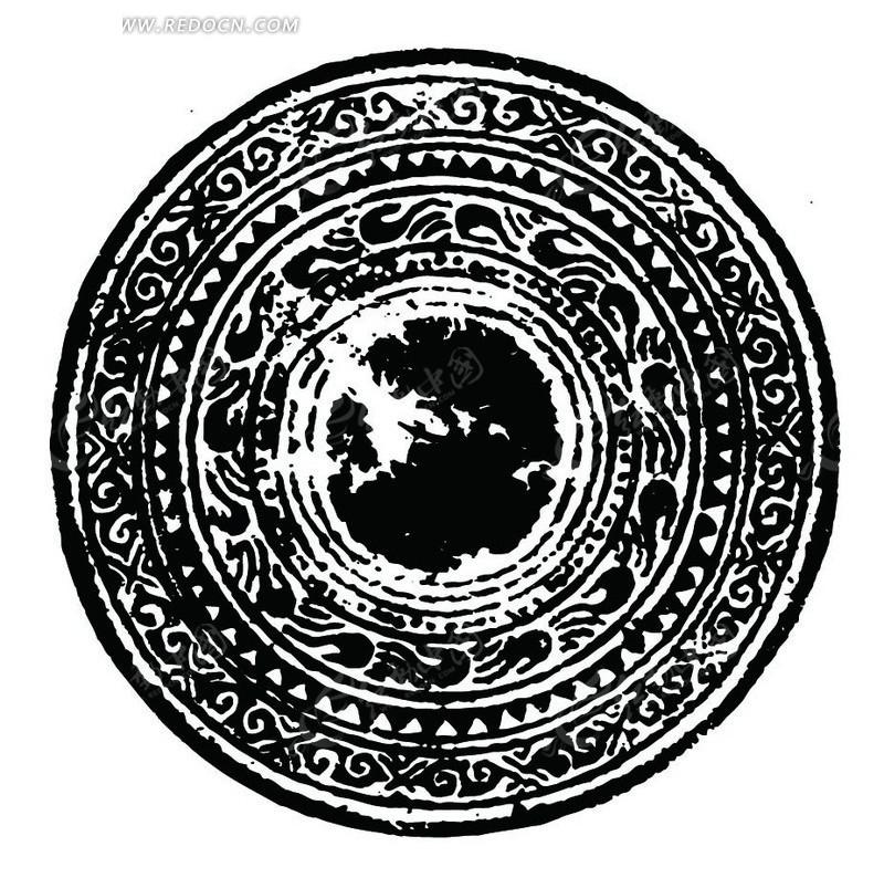 中国古典图案-曲线和几何形构成的斑驳的圆形图案