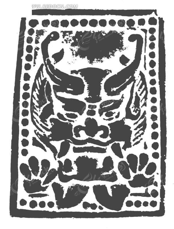 中国古典图案-兽头构成的矩形图案图片