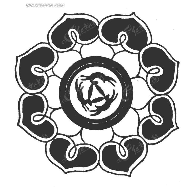 中国古典图案-几何形和花朵构成的图案