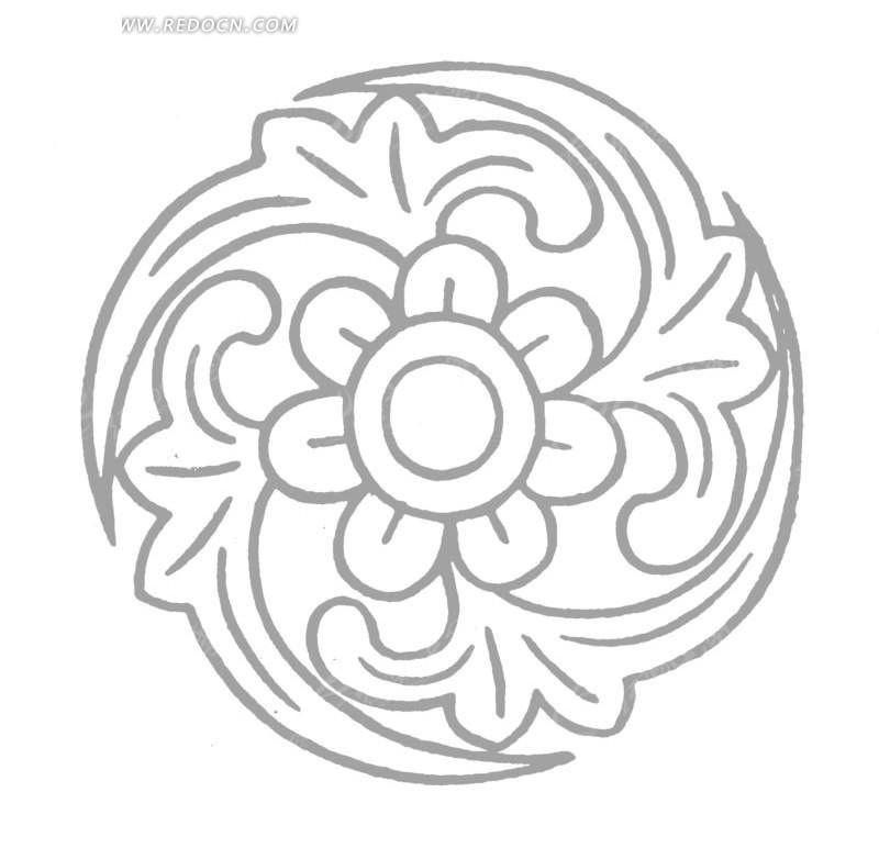 中国古典图案-花朵和叶子构成的圆形图案图片