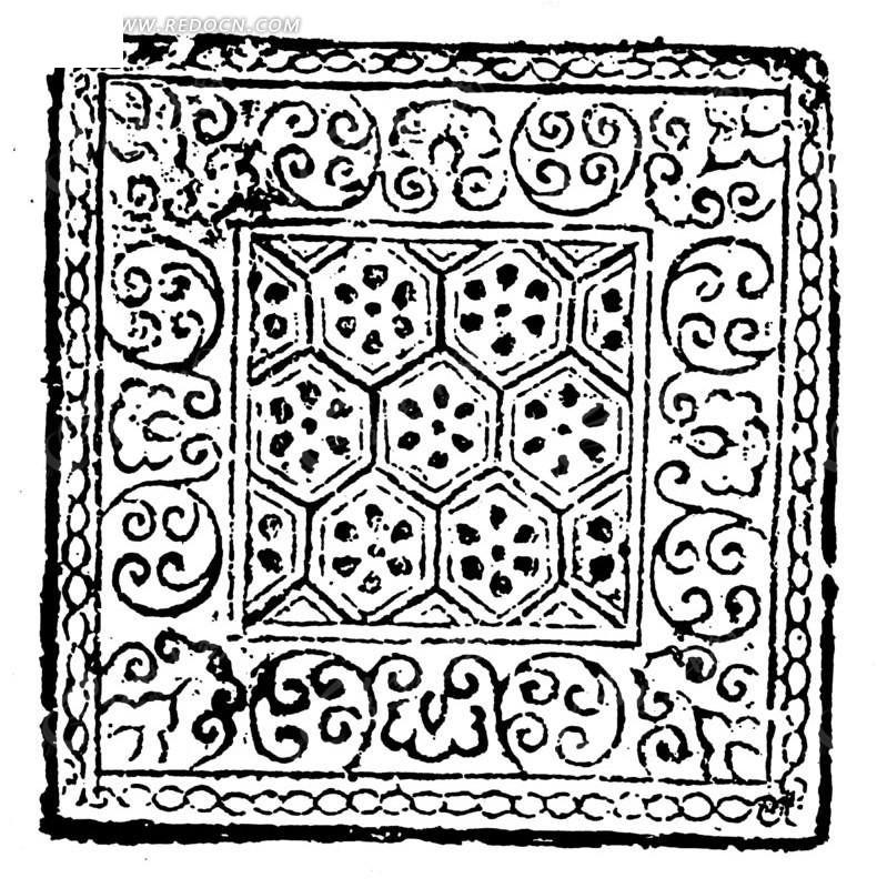 中国古典图案-卷曲纹和几何形构成的斑驳的方形图案图片