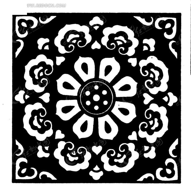 中国古典图案-花朵和卷曲纹构成的精美方形图案图片