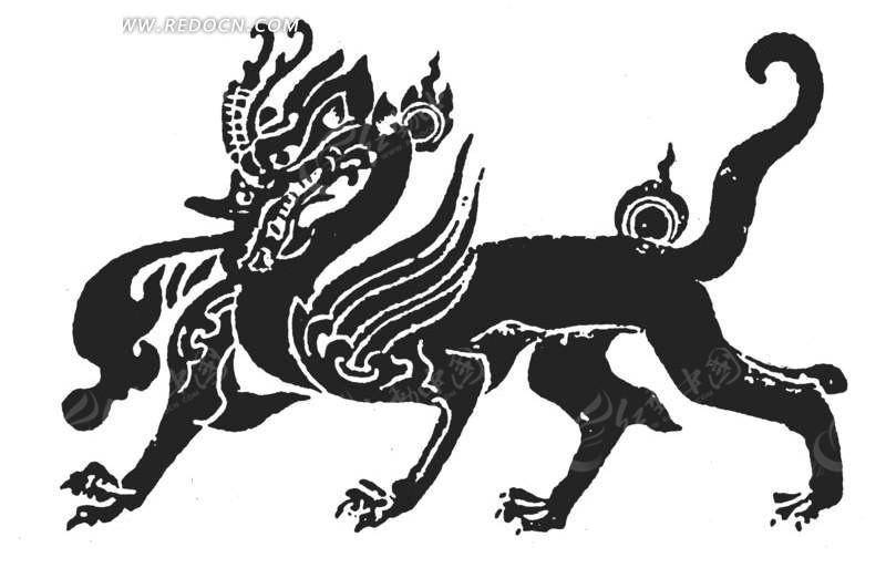 中国古典图案-四只脚的动物构成的图案