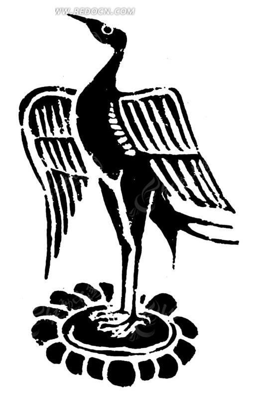 中国古典图案-站立的仙鹤矢量图_传统图案