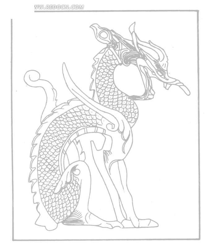 中国古典图案-蹲着的带鳞片的动物构成的图案