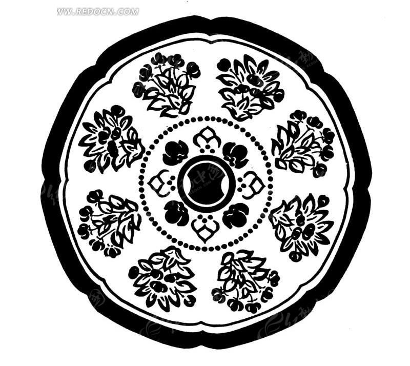 中国古典图案-花朵叶子构成的圆形图案