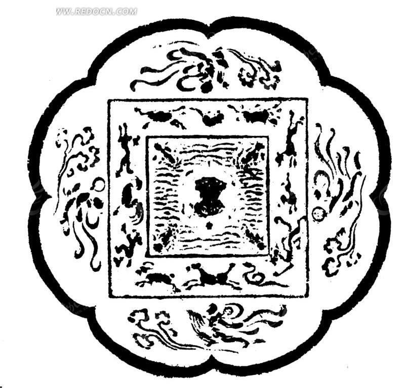 中国古典图案-动物构成的斑驳的图案