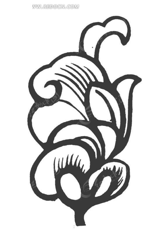 矢量手绘植物花朵叶子插画图形