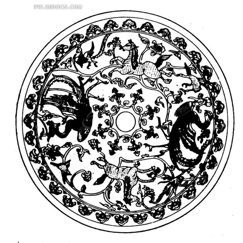 中国古典图案-动物和卷曲的藤蔓构成的圆形图案