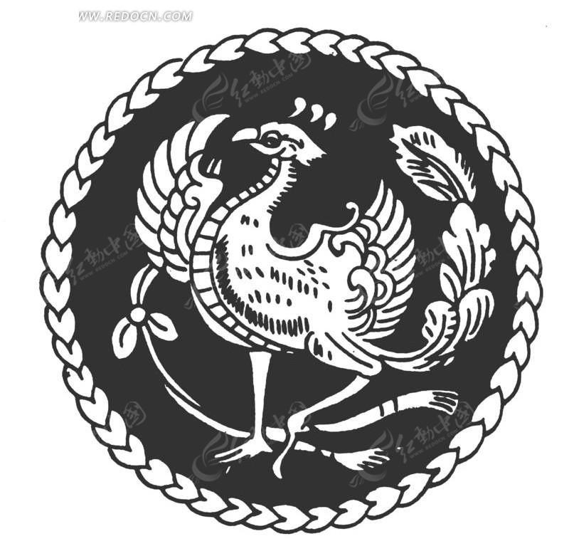 凤凰 展翅 圆形图案 中国风 中国古典 艺术 装饰 黑白  传统图案 矢量